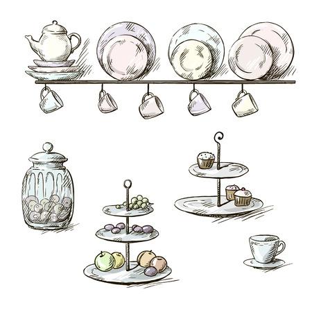 postre: Ilustraci�n exhausta de los utensilios de cocina Vectores