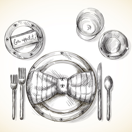 silver cutlery: Festive table setting illustration isolated