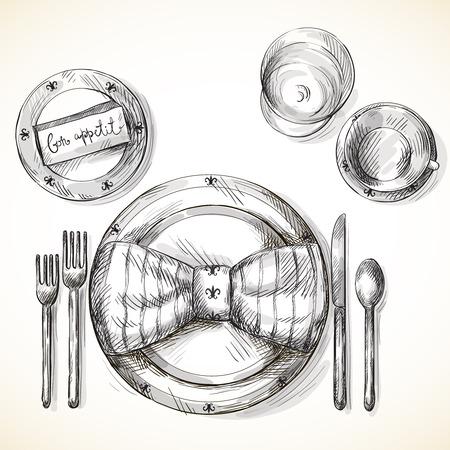 Festive table setting illustration isolated