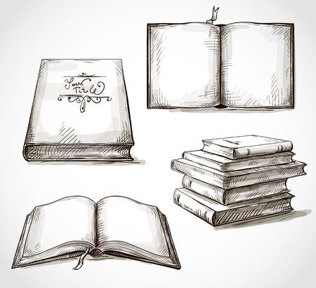 set van oude boeken tekeningen stapel boeken open boek