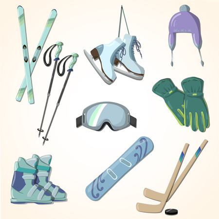 set of winter sports equipment cartoon style