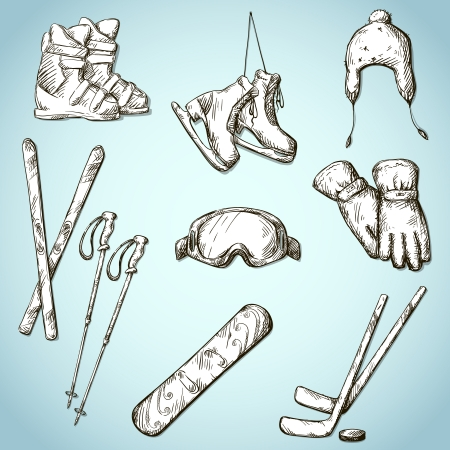 set of winter sports equipment doodle style Vector