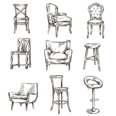 손으로 그린 의자 인테리어 세부 세트