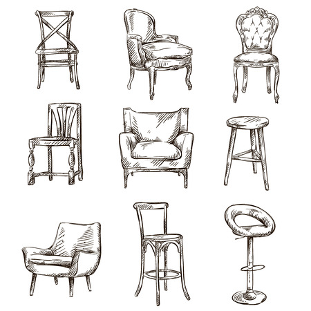 stools: Set of hand drawn chairs interior detail