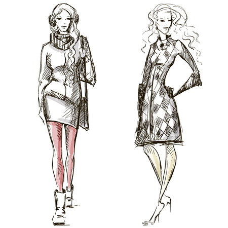 fashion girl: Fashion illustration winter style sketch hand drawn