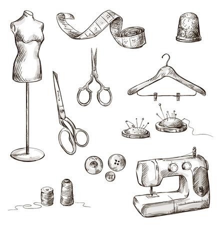 Ensemble d'accessoires de couture dessins icônes dessinés à la main Banque d'images - 24933793