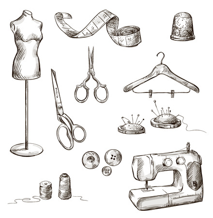 sewing machine: set of sewing accessories drawings icons hand drawn