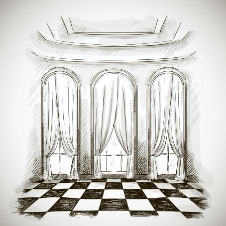 古典的なパーラー宴会ホールのスケッチ  イラスト・ベクター素材