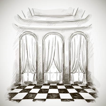baroque room: sketch of a classic parlor ballroom hall Illustration