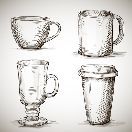 plastic cup: set of coffe mugs vector drawing sketch style Illustration