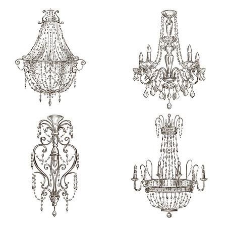 4 つのシャンデリア図面スケッチ スタイルを設定します。  イラスト・ベクター素材