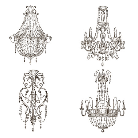 chandelier isolated: set of four chandelier drawings sketch style