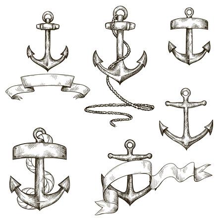 ancre marine: définir des ancres et des rubans tirées par la main Illustration