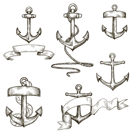 ribbons: set of hand drawn anchors and ribbons