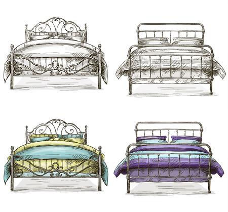 Satz von Betten Zeichnung, Skizze Stil Standard-Bild - 26052102