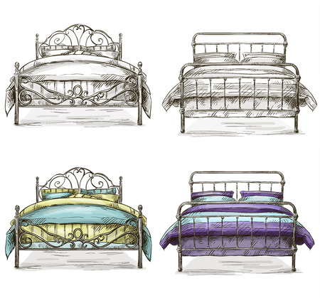 set of beds drawing sketch style