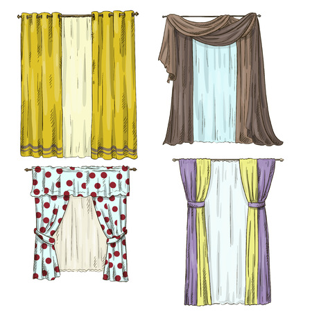 set of curtains Иллюстрация