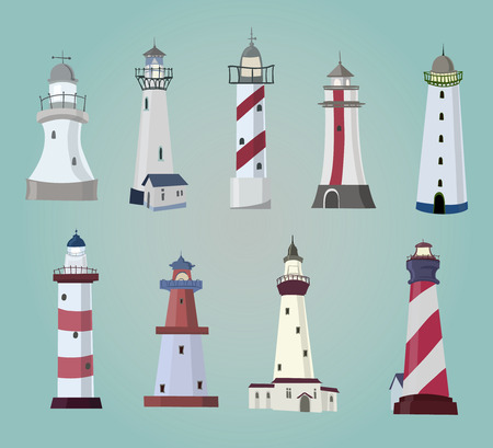 beacon: set of cartoon lighthouses  Flat icons