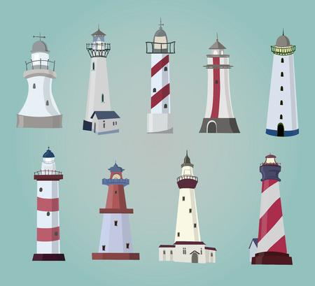 beacon light: set of cartoon lighthouses  Flat icons
