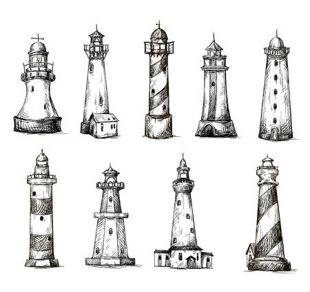 一連の漫画の灯台  イラスト・ベクター素材