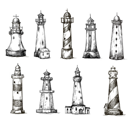 style: set of cartoon lighthouses