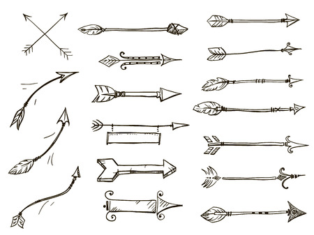 indian weapons: set of doodle arrows tribal style
