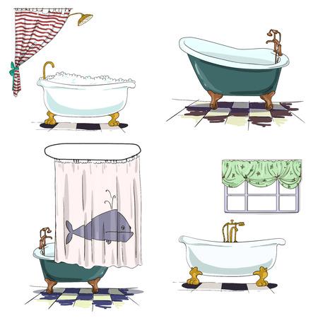 shower curtain: Bathroom interior element Illustration