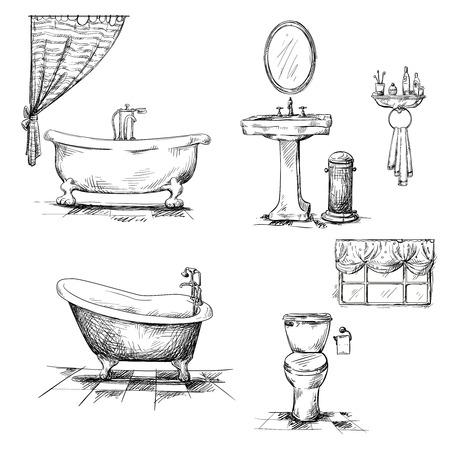 papel de baño: Elementos de baño interiores Vectores