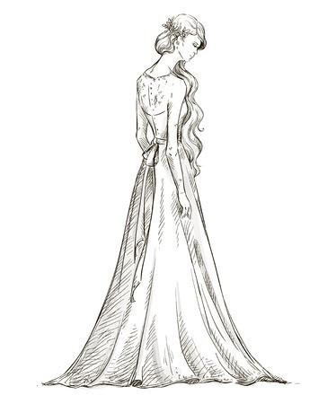 長い髪の美しい少女  イラスト・ベクター素材