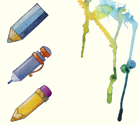 watercolor painted pencil icons, splashes of paint Stock Vector - 26039079