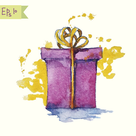watercolor painting of a gift box illustration
