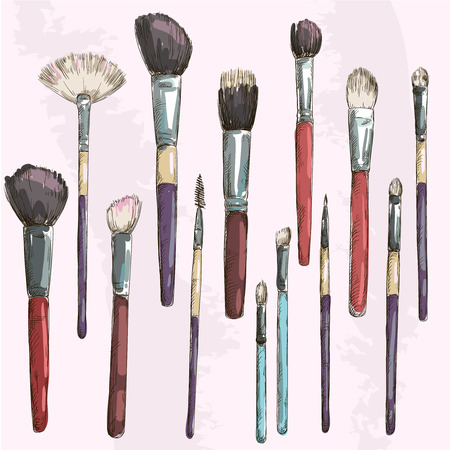 blush: Make up brushes collection  Fashion illustration  Vector sketch