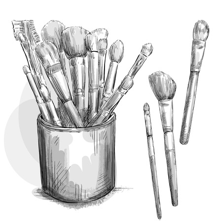 Make up brushes collection  Brushes in a case  Fashion illustration  Vector sketch  Vector
