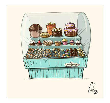 shop window display: Hand drawn counter with bakery  Shopwindow with pastry illustration   Illustration