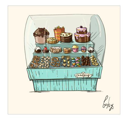Hand getrokken teller met bakkerij Shopwindow met gebak illustratie