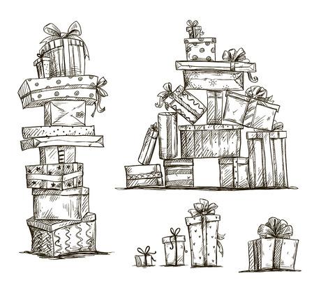 Geschenkhaufen und Doodle Haufen von Geschenk-Boxen Vektor-Illustration Standard-Bild - 28017290