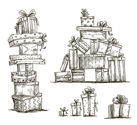 Stapels cadeautjes Doodle hopen van geschenkdozen Vector illustratie Stock Illustratie