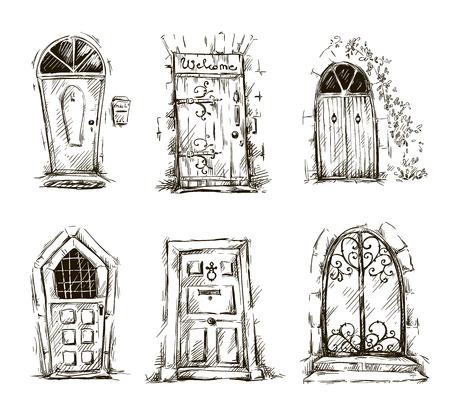 set of doodle doors sketch Ilustração