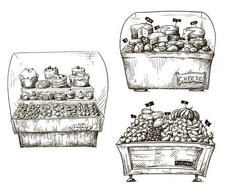 Contadores dibujados a mano con panader�a, frutas y verduras, queso Shopwindow ilustraci�n vectorial
