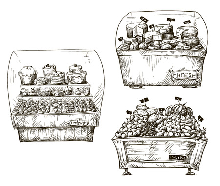 freehand drawing: Hand drawn counters with bakery, fruit and vegetables, cheese  Shopwindow vector illustration