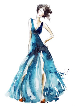 dress sketch: Blue dress fashion illustration, vector EPS 10