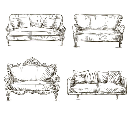 set of sofas drawings sketch style, vector illustration Çizim
