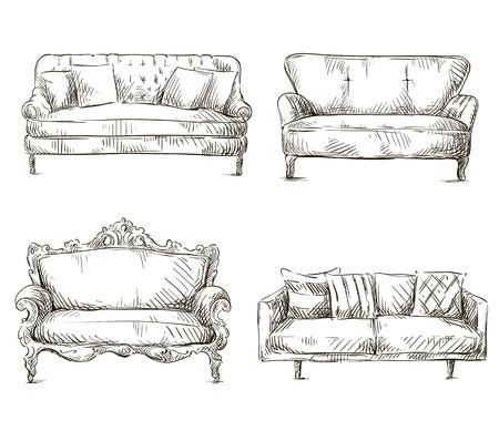set van banken tekeningen schets stijl, vector illustratie