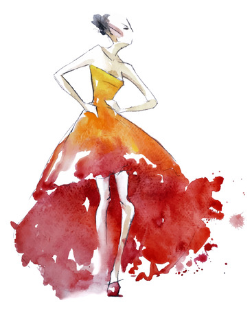 watercolours: Ilustraci�n de moda vestido de rojo, vector EPS 10