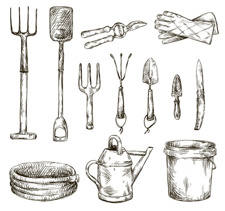 gardening tools: Set of gardening tools drawings, vector illustrations  Illustration