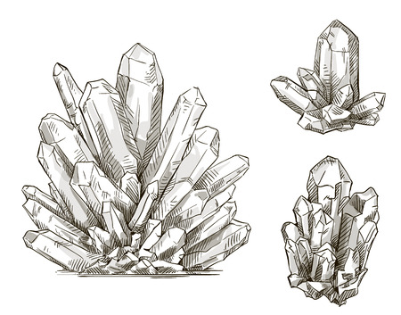 set of crystals drawings  Vector illustration