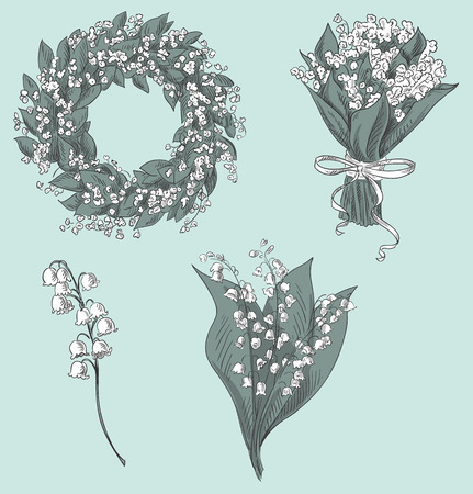 Set of lily of the valley drawings  Hand drawn vector illustration
