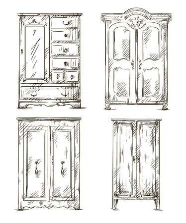 Set Of Hand Drawn Wardrobes Interior Elements Vector Illustration