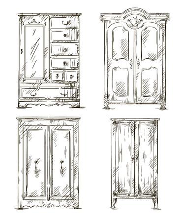 un conjunto de armarios de dibujado a mano ilustración vectorial Interior elementos Ilustración de vector