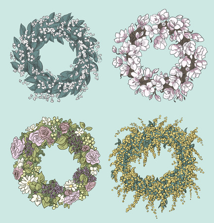 magnolia: set of stylish wreaths drawings   Flowers decoration  Floral design  Vector illustration